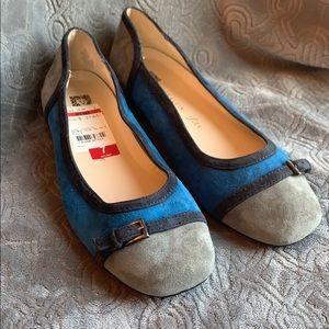 Anne Klein IFlex Suede Ballet Flats grey blue 7